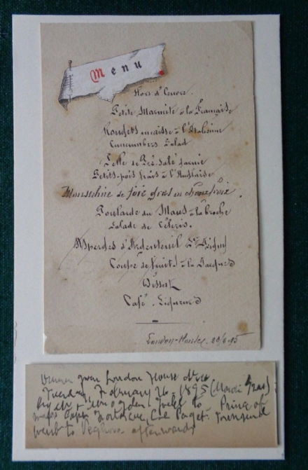 London House Dinner Menu given to King Edward VII by US Ogden Goelet 1895 France